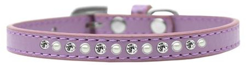 Pearl And Clear Crystal Size 16 Lavender Puppy Collar
