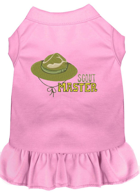 Scout Master Embroidered Dog Dress Light Pink 4x (22)