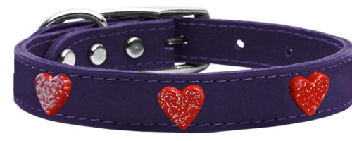 Red Glitter Heart Widget Genuine Leather Dog Collar Purple 22