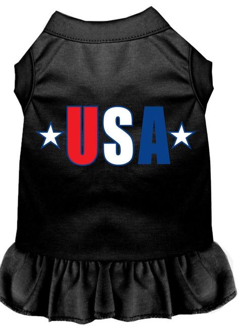 Usa Star Screen Print Dress Black Lg (14)