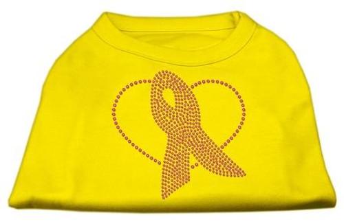 Pink Ribbon Rhinestone Shirts Yellow Xs (8)
