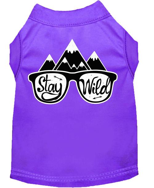 Stay Wild Screen Print Dog Shirt Purple Lg (14)