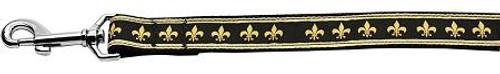 Black And Gold Fleur De Lis Nylon Dog Leash 6 Foot Leash