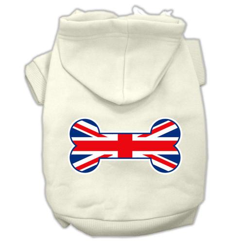 Bone Shaped United Kingdom (union Jack) Flag Screen Print Pet Hoodies Cream Size M (12)