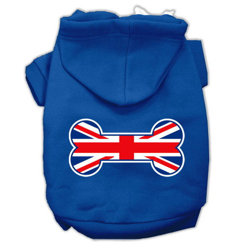 Bone Shaped United Kingdom (union Jack) Flag Screen Print Pet Hoodies Blue Size Med (12)