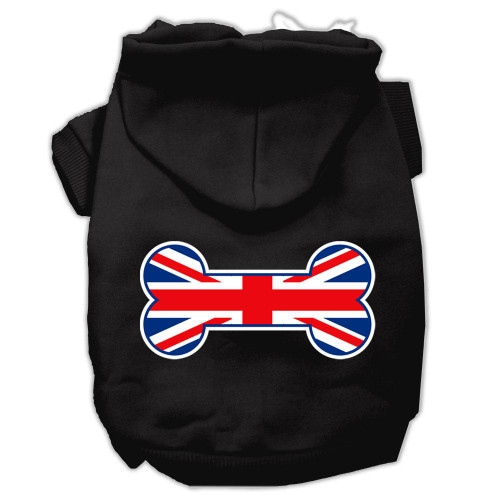 Bone Shaped United Kingdom (union Jack) Flag Screen Print Pet Hoodies Black Size Med (12)
