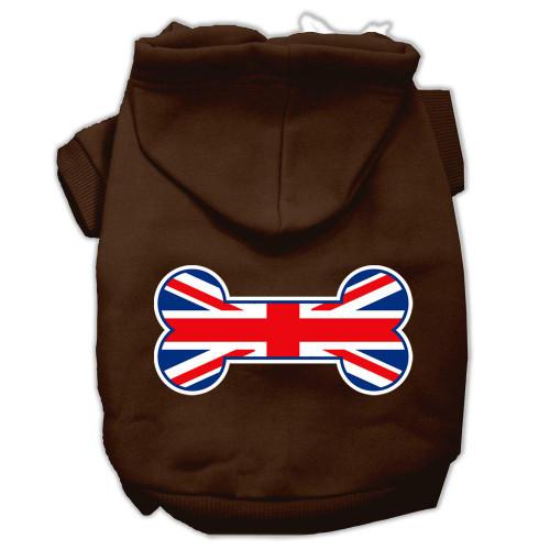Bone Shaped United Kingdom (union Jack) Flag Screen Print Pet Hoodies Brown Size Med (12)