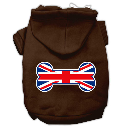 Bone Shaped United Kingdom (union Jack) Flag Screen Print Pet Hoodies Brown Size Med (12)