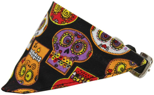 Crazy Skulls Bandana Pet Collar Black Size 20