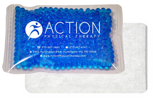 "4.5"" x 6"" Custom Imprinted, ""Cloth-Backed"" Gel Bead Cold/Hot Therapy Packs.  75 per case. Sold by the case."