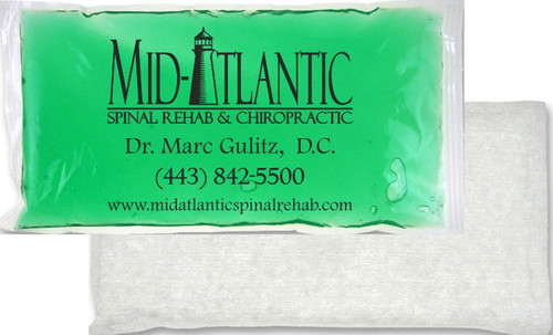 """6"""" x 12"""" Custom Imprinted, """"Cloth-Backed"""", """"Stay-Soft"""" Cold/Hot Gel Packs. 18 per case.  Sold by the case."""