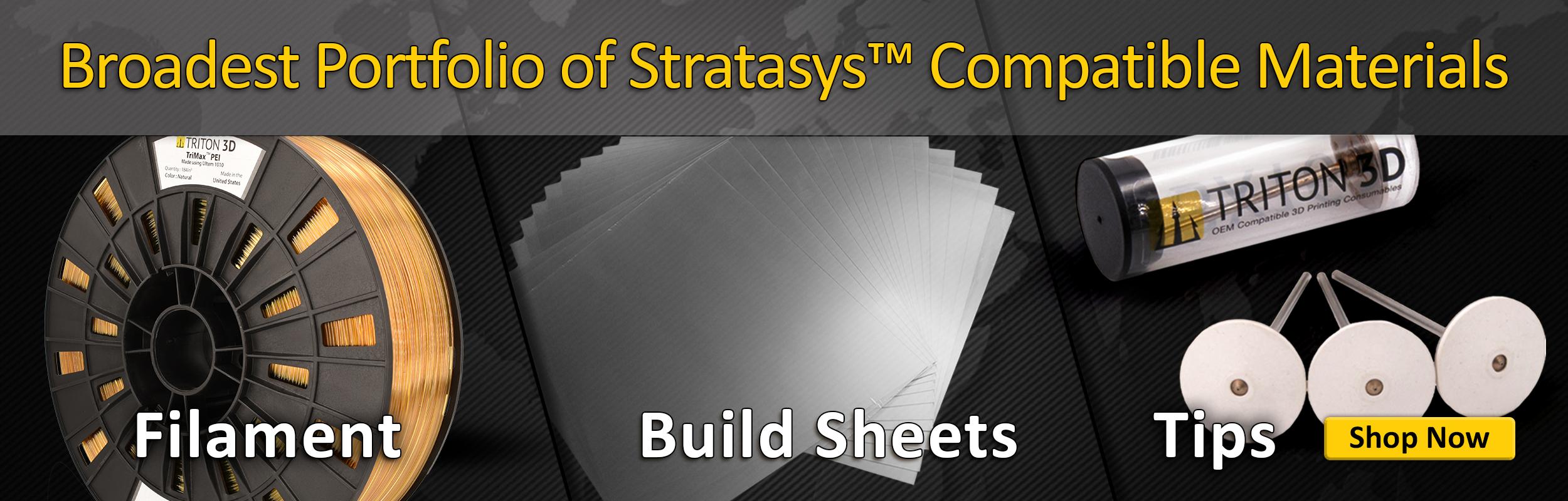 Broadest portfolio of stratasys compatible materials on the market