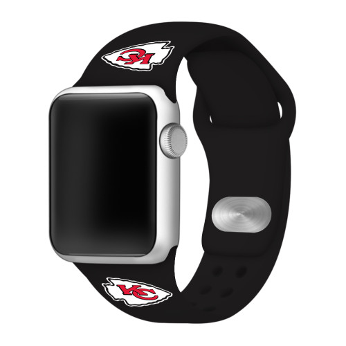 NFL Kansas City Chiefs Black Silicone Band 38/40mm for Apple Watch