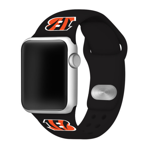 NFL Cincinnati Bengals Black Silicone Band 42/44mm for Apple Watch