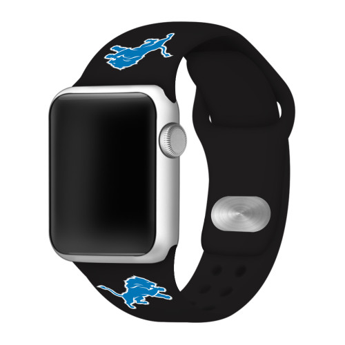 NFL Detroit Lions Black Silicone Band 42/44mm for Apple Watch