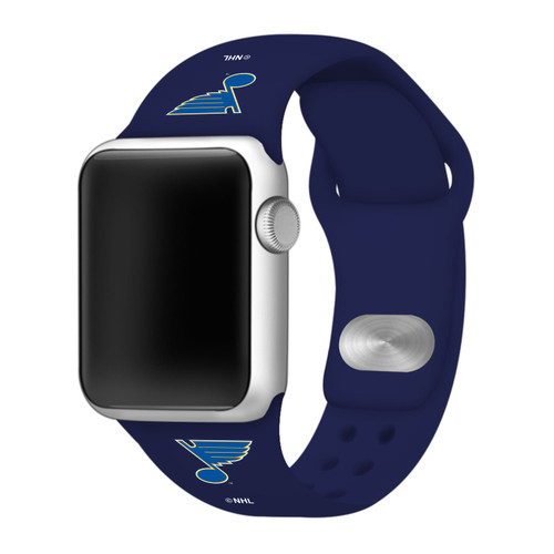 NHL St. Louis Blues Navy Blue Silicone Band 42/44mm for Apple Watch