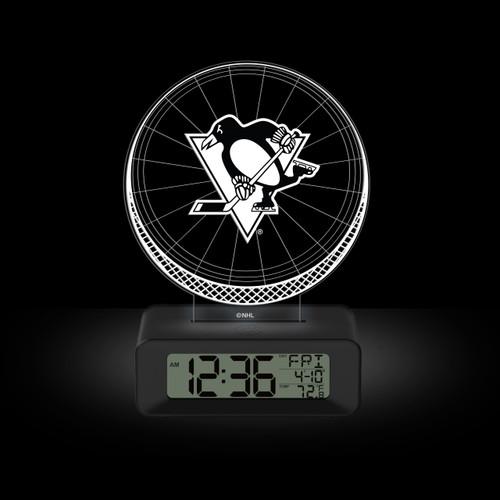 LED DESK CLOCK PITTSBURGH PENGUINS