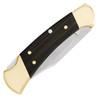 Buck 112 Ranger Auto Lock Back Folding Hunter Ebony Wood Handle Brass Bolsters Satin Blade 0112BRSA-B