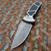 Pro-Tech Les George SBR Steel Custom Textured Two Tone Satin DLC Handle Damascus Blade Pearl Button LG455