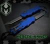Heretic Knives Hydra OTF Auto Tanto Blue Handle DLC Blade H006-6A-BLUE