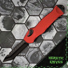Heretic Knives Hydra OTF Auto Tanto Red Handle DLC Blade H006-6A-RED