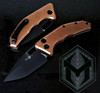 Heretic Knives Medusa Auto Tanto Copper Handle DLC Blade H011-6A-COPPER
