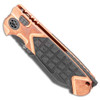 Heretic Knives ADV Butcher Auto Copper Handle w/ Carbon Fiber Inlays Battleworn Black Blade H034-8A-COPPER