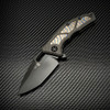 Heretic Knives Medusa Manual Tanto Carbon Fiber Handle w/ Flamed Titanium Inlays DLC Blade H009-6A-CFFTI