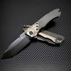 Heretic Knives Wraith Manual Tanto Carbon Fiber Handle w/ Flamed Ti Bolster DLC Blade H101-6A-CFFTI