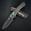 Heretic Knives Wraith Manual S/E Carbon Fiber Handle w/ Shipwreck Chemtina Brass Bolster DLC Blade H001-6A-CFCHEM