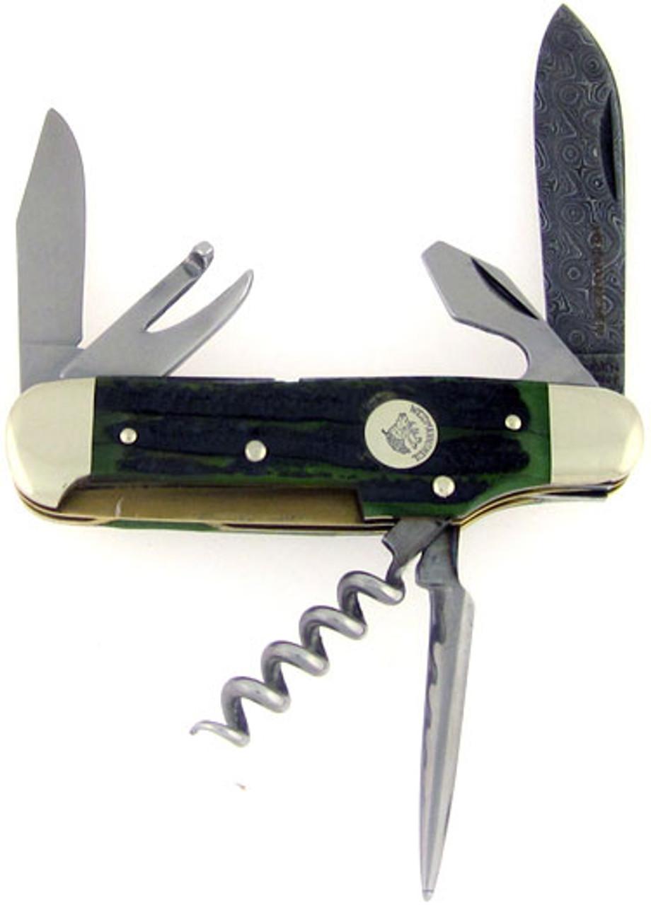 Weidmannsheil Deluxe 6 Blade Scout Green Bone Damascus