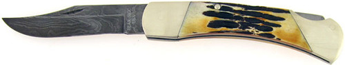 Bear & Son Cutlery Executive Lock Back Hunter Burnt Stag Damascus 597D