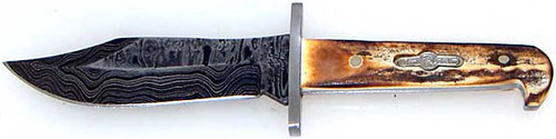 Bear & Son Cutlery Custom Heritage Baby Bowie Knife Stag Damascus CHGS00LD-1/2