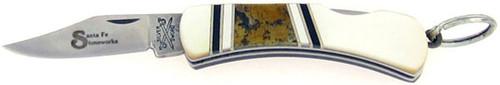 Camillus Santa Fe Stoneworks Silver Sword Keychain Lock Back Pearl Gold Leaf 862SFSPGL