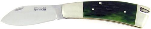 Peter Bromley Custom Bolster Lock Back Green Bone Deep Belly