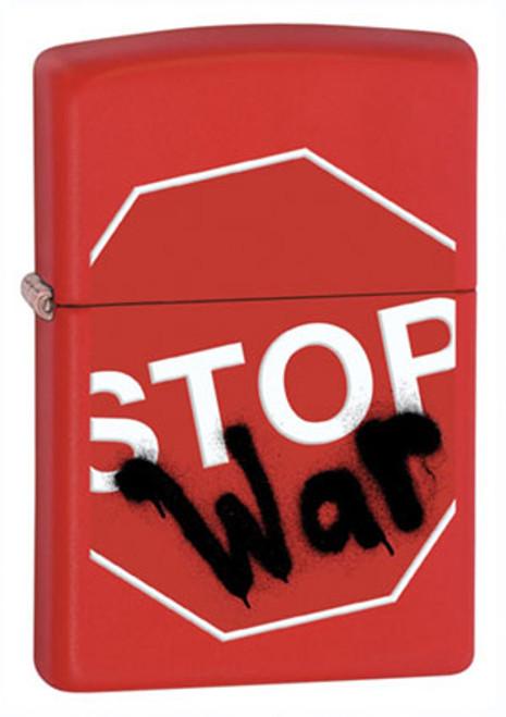Zippo Lighter Red Stop War 28140