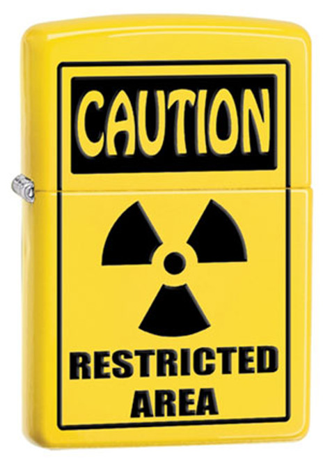 Zippo Lighter Yellow Caution Restricted Area 28318