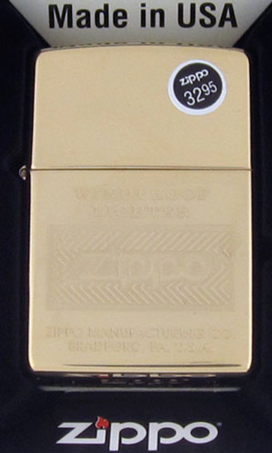 Zippo Lighter Polished Brass Logo 28145