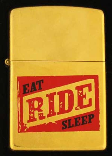 Zippo Lighter Brass Eat-Ride-Sleep