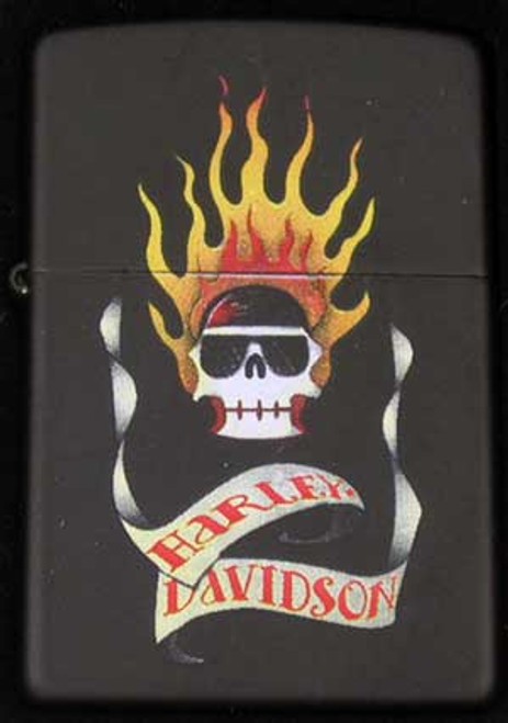 Zippo Harley Davidson Lighter Black Flaming Skull
