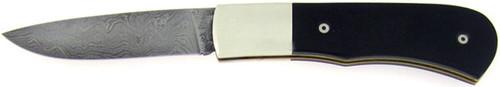 Chuck Hawes Custom Slip Joint Black Linen Micarta Damascus