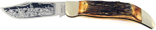 Schrade Custer's Last Fight Grizzly Folding Knife Burnt Stag 0096CLF