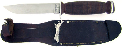 Schrade Walden Antique Clip Point Hunter Stacked Leather WH-15