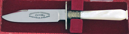 Jonathan Crookes Custom Mini Bowie Knife Fancy Mother of Pearl
