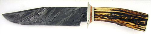 Burr Oak Mark Nevling Custom Bowie Burnt Stag & Damascus