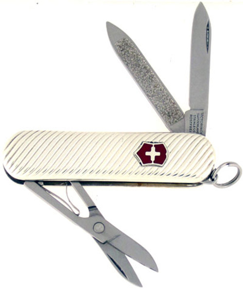Victorinox Swiss Army Pen Knife w/ Scissors Swirl Sterling Silver 53039S