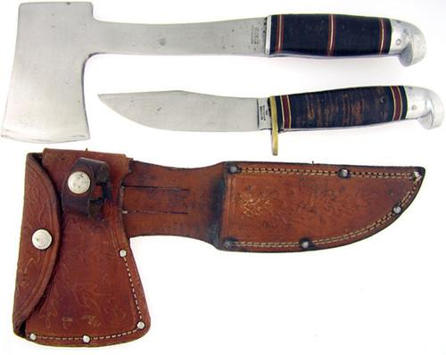 Western Antique Hatchet & Skinner Set Stacked Leather L88SET