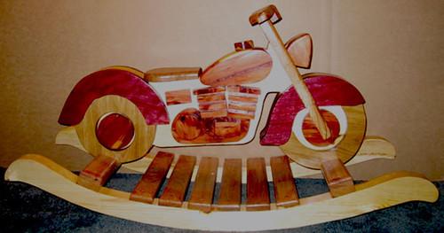 Harley Davidson Handmade Wooden Rocking Motorcycle