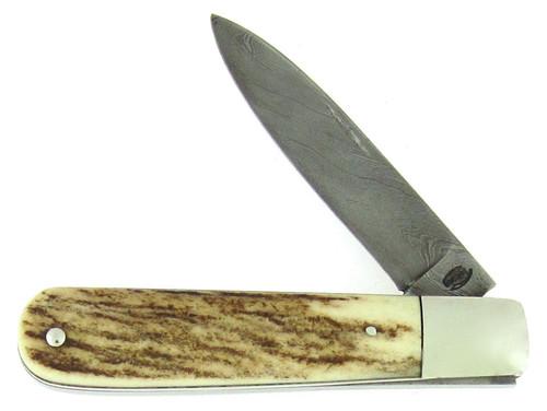 P.J. Tomes Custom Slip Joint Genuine Stag Damascus