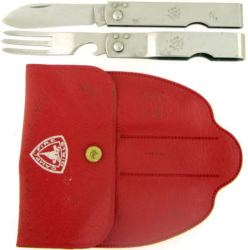 Imperial Boy Scouts of America Camp Fire Girls Folding Fork & Knife Set Stainless Steel